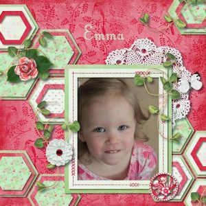 Think Spring - layout by Rebecca (template: Shape Fun: Hexagons by LissyKay Designs)